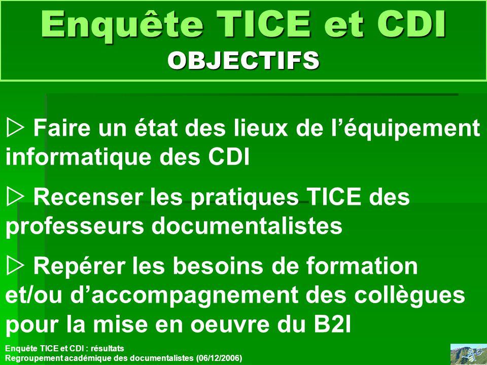 Enquête TICE et CDI OBJECTIFS Faire un état des lieux de léquipement informatique des CDI Enquête TICE et CDI : résultats Regroupement académique des