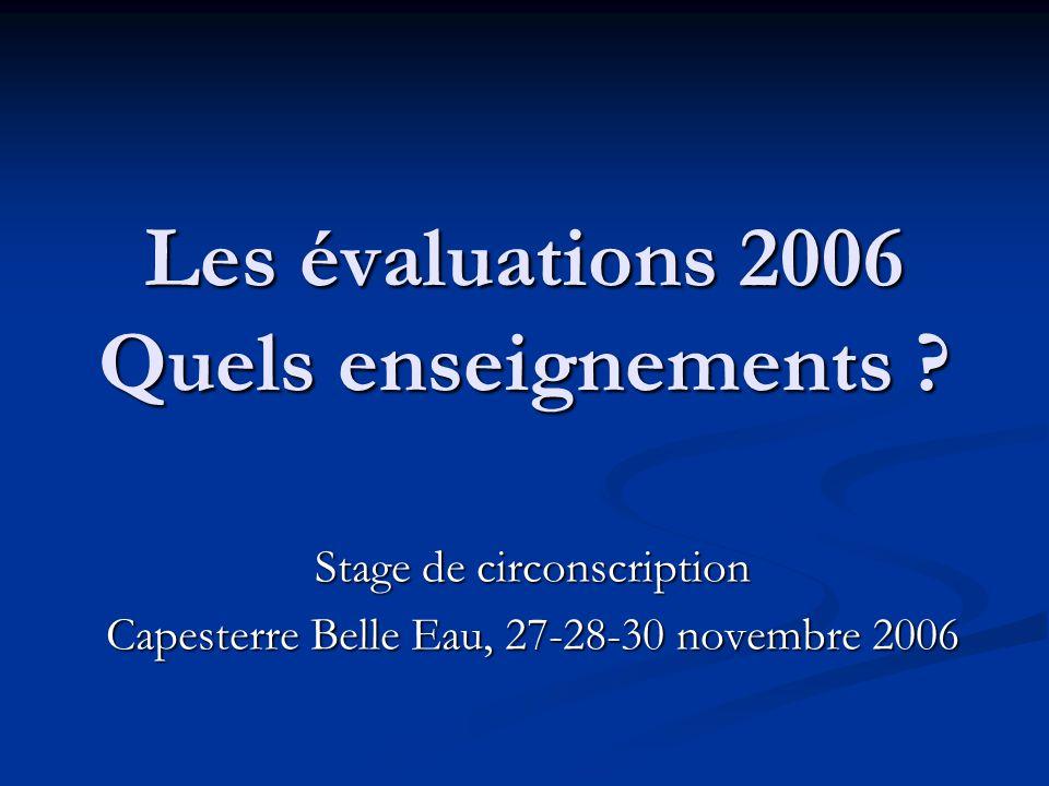 Les évaluations 2006 Quels enseignements ? Stage de circonscription Capesterre Belle Eau, 27-28-30 novembre 2006