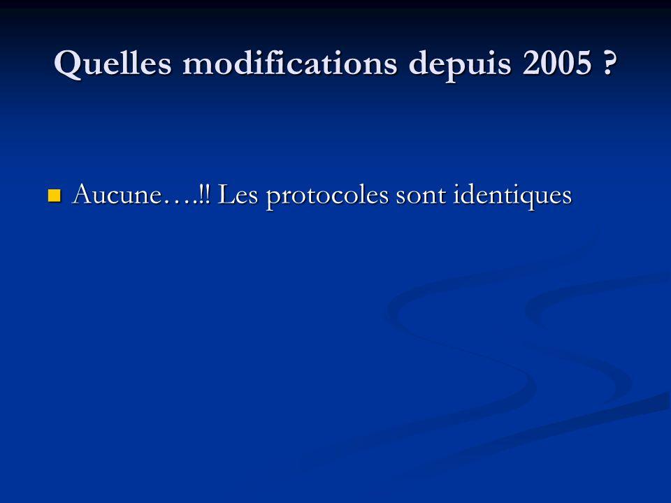 Quelles modifications depuis 2005 ? Aucune….!! Les protocoles sont identiques Aucune….!! Les protocoles sont identiques