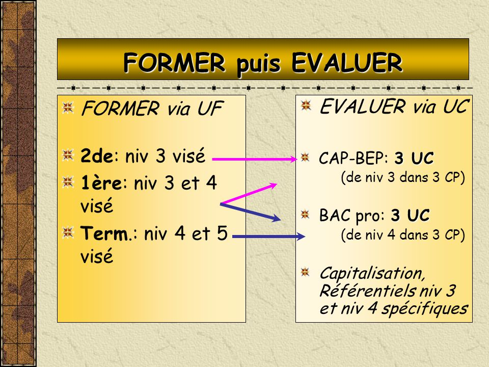 FORMER puis EVALUER FORMER via UF 2de: niv 3 visé 1ère: niv 3 et 4 visé Term.: niv 4 et 5 visé EVALUER via UC 3 UC CAP-BEP: 3 UC (de niv 3 dans 3 CP)