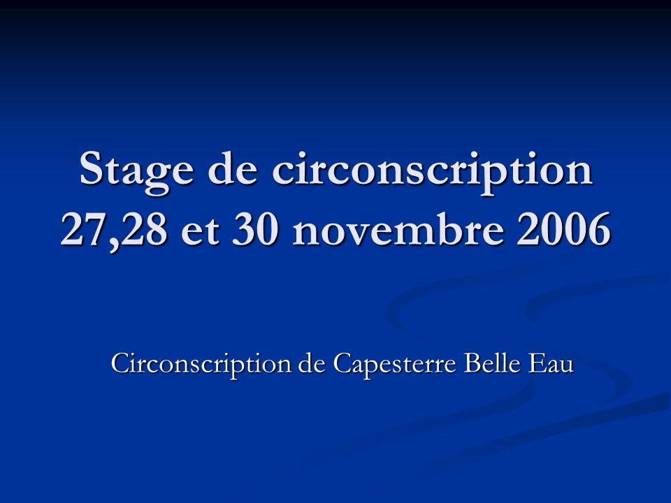 Stage de circonscription 27,28 et 30 novembre 2006 Circonscription de Capesterre Belle Eau