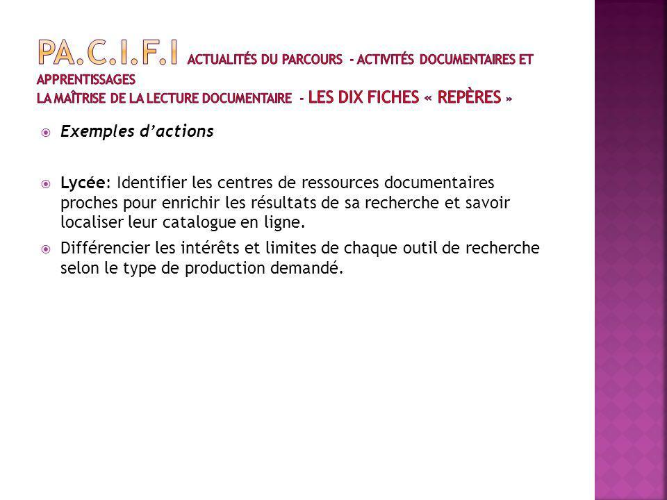 Exemples dactions Lycée: Identifier les centres de ressources documentaires proches pour enrichir les résultats de sa recherche et savoir localiser leur catalogue en ligne.