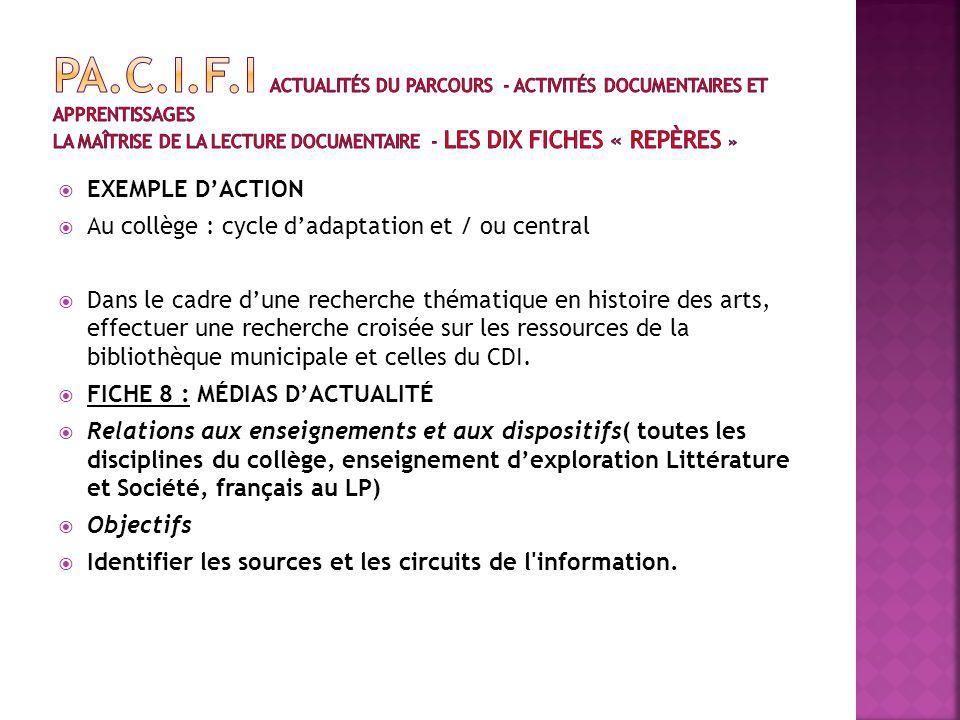 EXEMPLE DACTION Au collège : cycle dadaptation et / ou central Dans le cadre dune recherche thématique en histoire des arts, effectuer une recherche croisée sur les ressources de la bibliothèque municipale et celles du CDI.