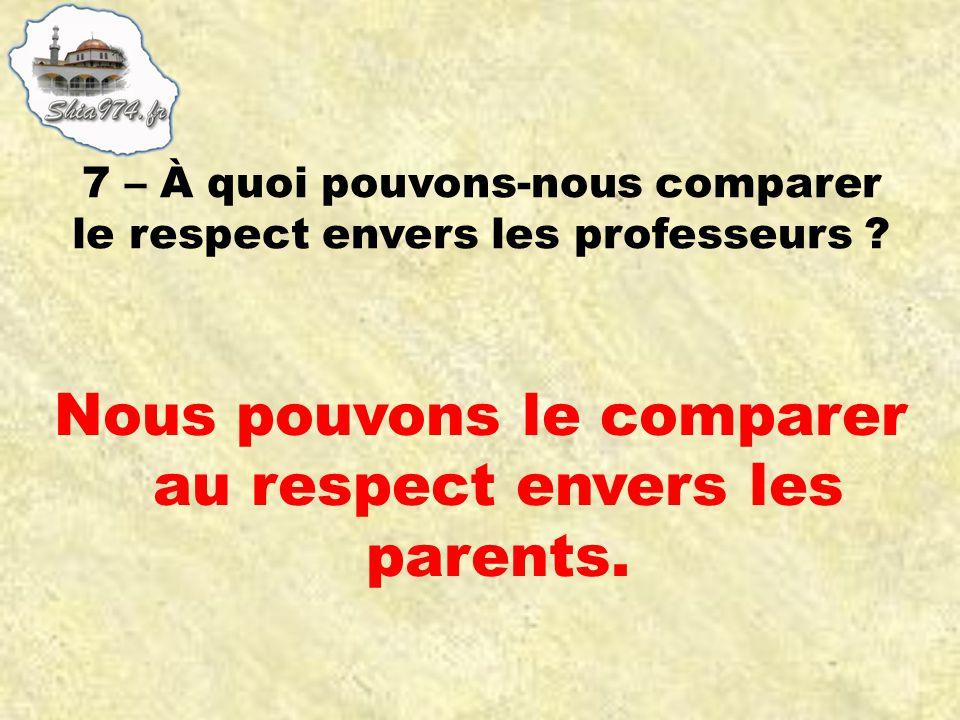 Nous pouvons le comparer au respect envers les parents.