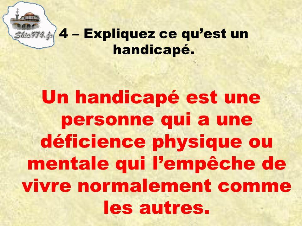 Un handicapé est une personne qui a une déficience physique ou mentale qui lempêche de vivre normalement comme les autres.