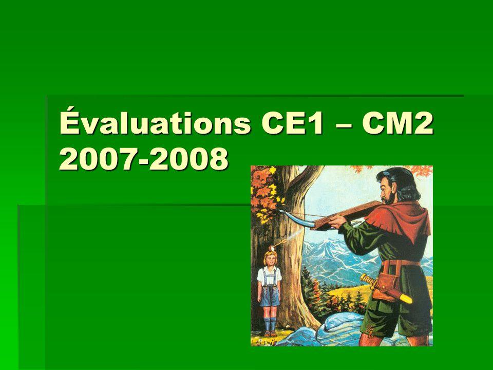 Évaluations CE1 – CM2 2007-2008