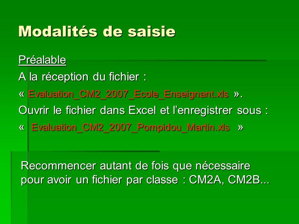 Modalités de saisie Préalable A la réception du fichier : « Evaluation_CM2_2007_Ecole_Enseignant.xls ».