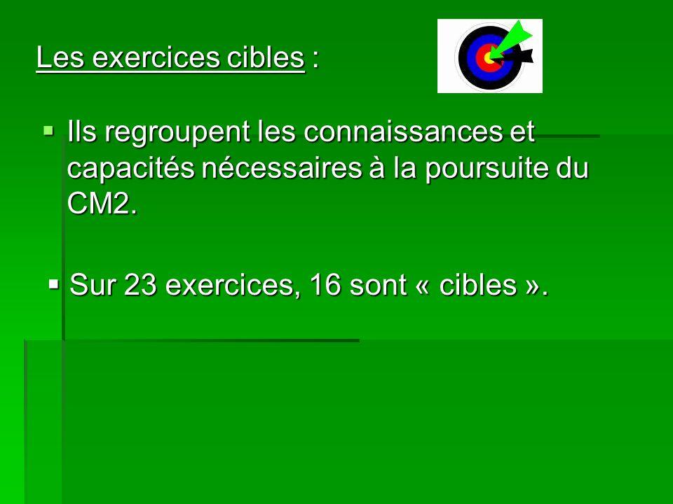Les exercices cibles : Ils regroupent les connaissances et capacités nécessaires à la poursuite du CM2.