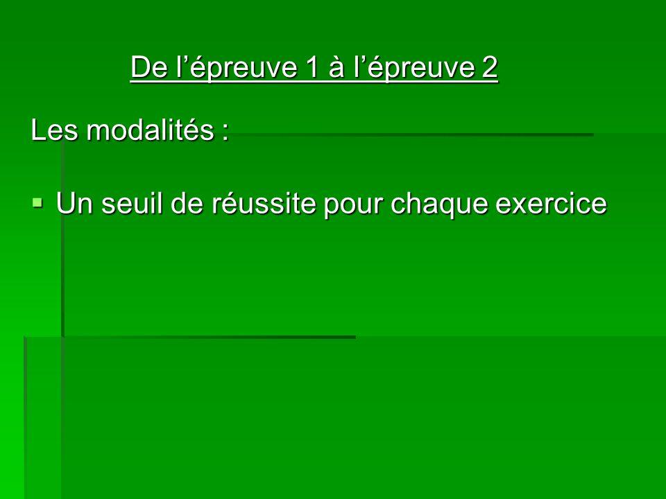 Les modalités : Un seuil de réussite pour chaque exercice Un seuil de réussite pour chaque exercice De lépreuve 1 à lépreuve 2