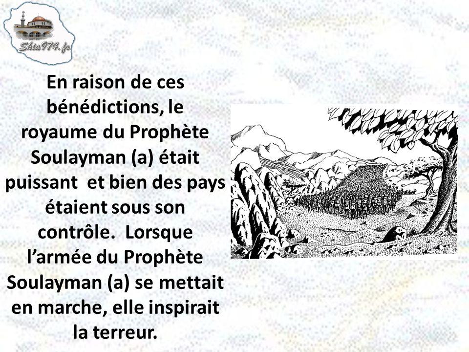 En raison de ces bénédictions, le royaume du Prophète Soulayman (a) était puissant et bien des pays étaient sous son contrôle. Lorsque larmée du Proph