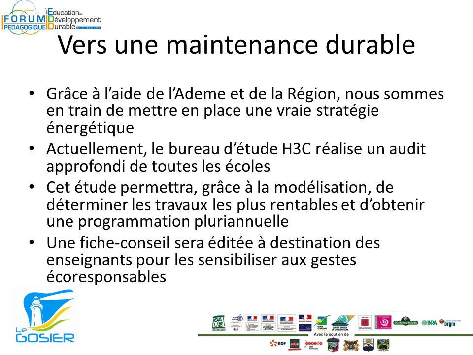 Vers une maintenance durable Grâce à laide de lAdeme et de la Région, nous sommes en train de mettre en place une vraie stratégie énergétique Actuelle