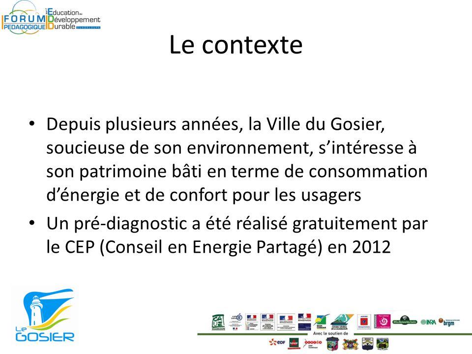 Le contexte Depuis plusieurs années, la Ville du Gosier, soucieuse de son environnement, sintéresse à son patrimoine bâti en terme de consommation dénergie et de confort pour les usagers Un pré-diagnostic a été réalisé gratuitement par le CEP (Conseil en Energie Partagé) en 2012