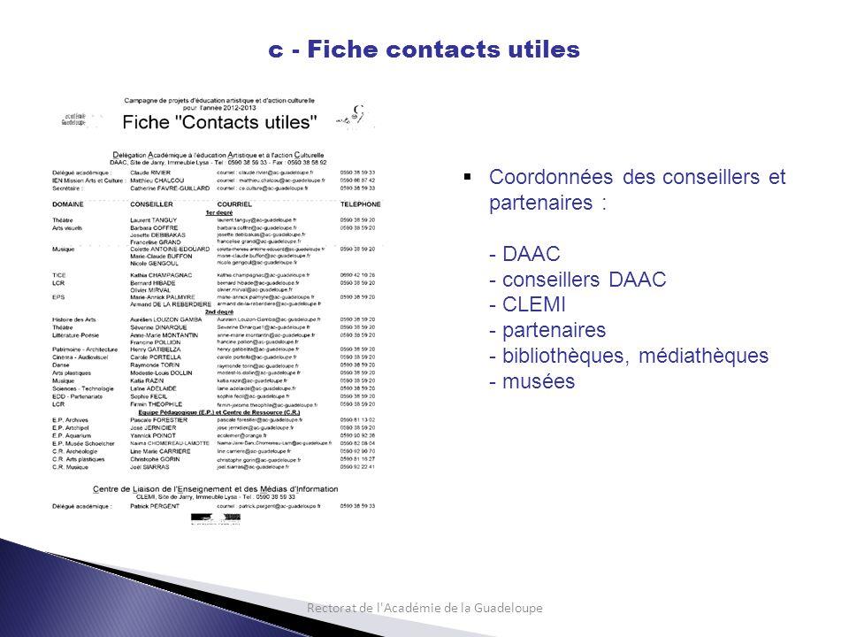 Rectorat de l Académie de la Guadeloupe c - Fiche contacts utiles Coordonnées des conseillers et partenaires : - DAAC - conseillers DAAC - CLEMI - partenaires - bibliothèques, médiathèques - musées