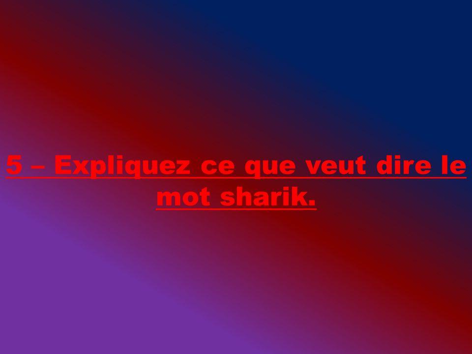 5 – Expliquez ce que veut dire le mot sharik.