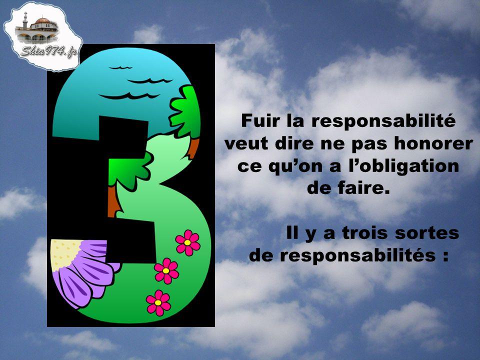 Fuir la responsabilité veut dire ne pas honorer ce quon a lobligation de faire. Il y a trois sortes de responsabilités :