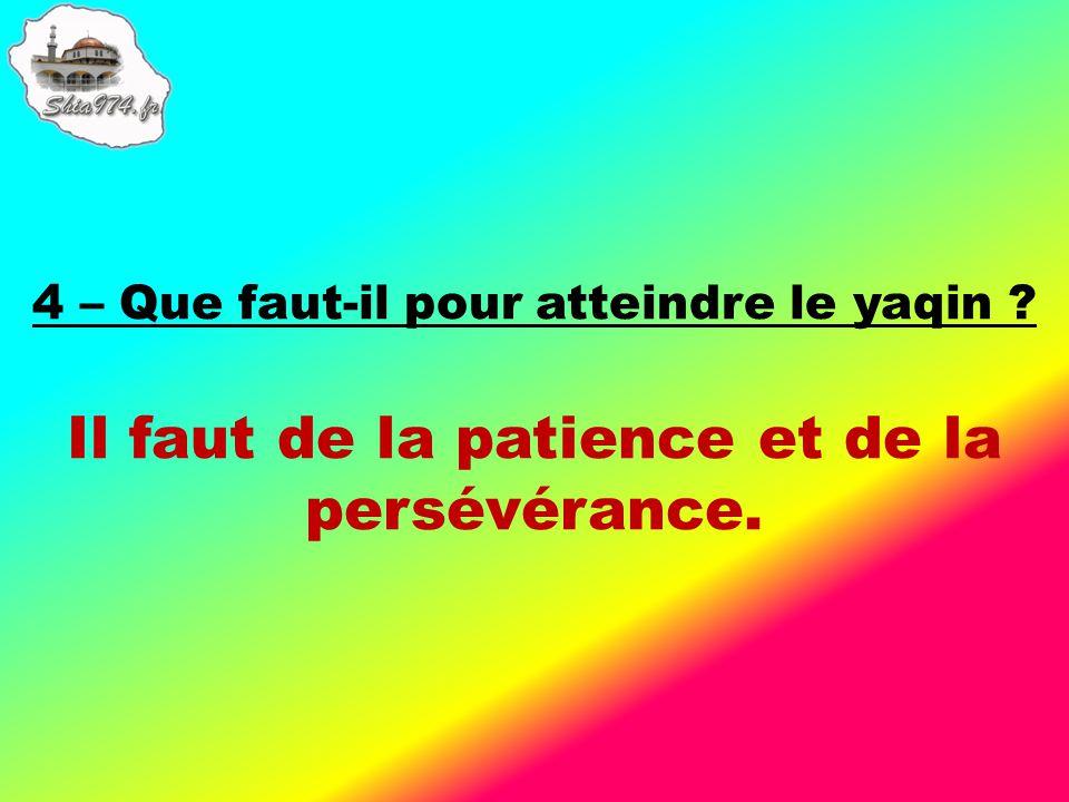 Il faut de la patience et de la persévérance.