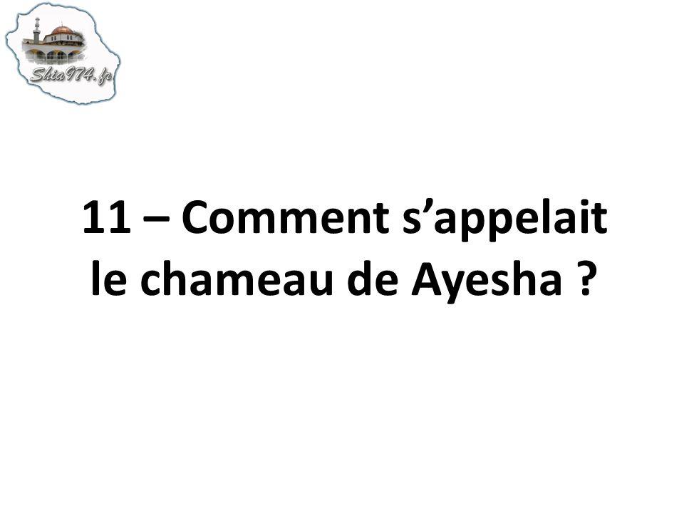 11 – Comment sappelait le chameau de Ayesha ?