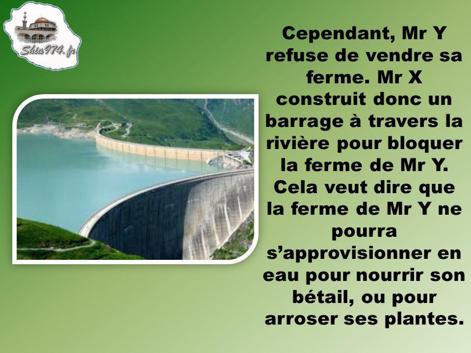 Mr Y fait faillite et il est donc obligé de vendre sa ferme à Mr X, qui va alors débloquer le barrage.