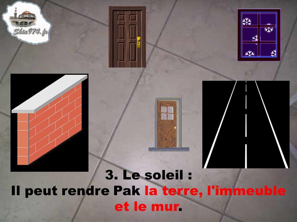 3. Le soleil : Il peut rendre Pak la terre, l'immeuble et le mur.