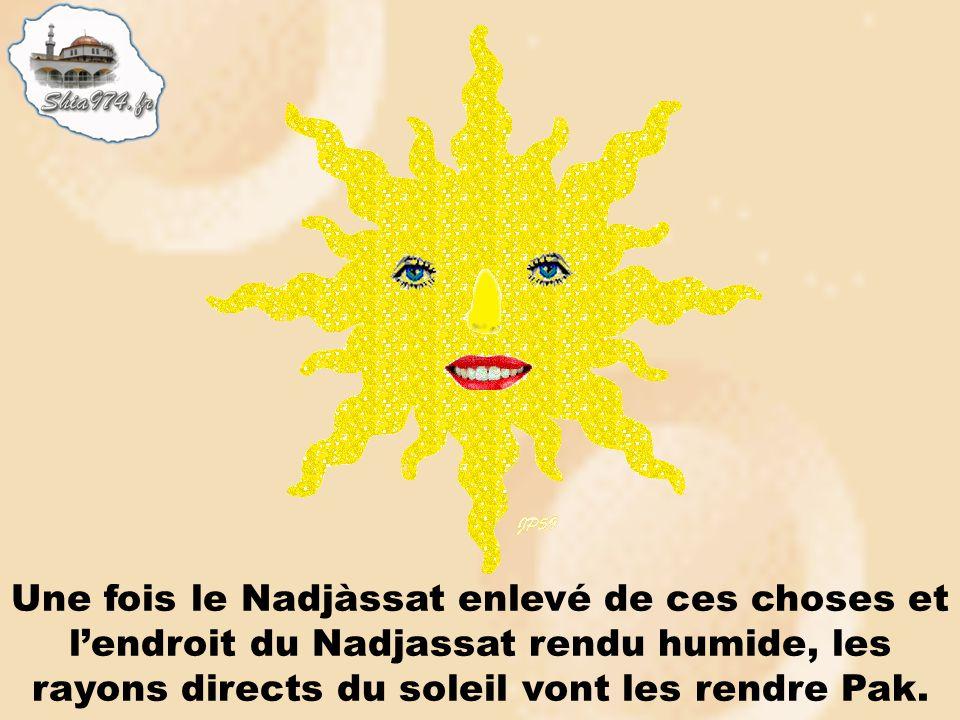 Une fois le Nadjàssat enlevé de ces choses et lendroit du Nadjassat rendu humide, les rayons directs du soleil vont les rendre Pak.