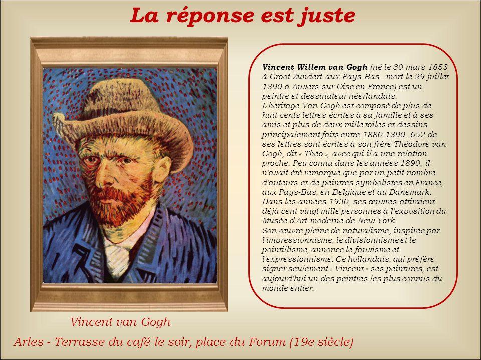 Pablo PicassoHenri Matisse La réponse est fausse Back Vincent van Gogh