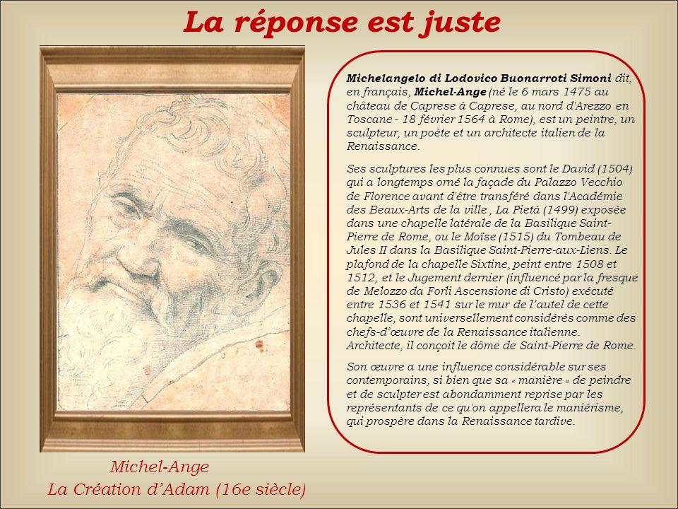 Le Caravage La réponse est fausse Back TitienMichel-Ange
