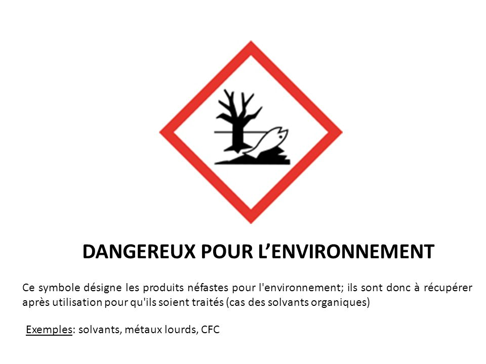 DANGEREUX POUR LENVIRONNEMENT Ce symbole désigne les produits néfastes pour l'environnement; ils sont donc à récupérer après utilisation pour qu'ils s