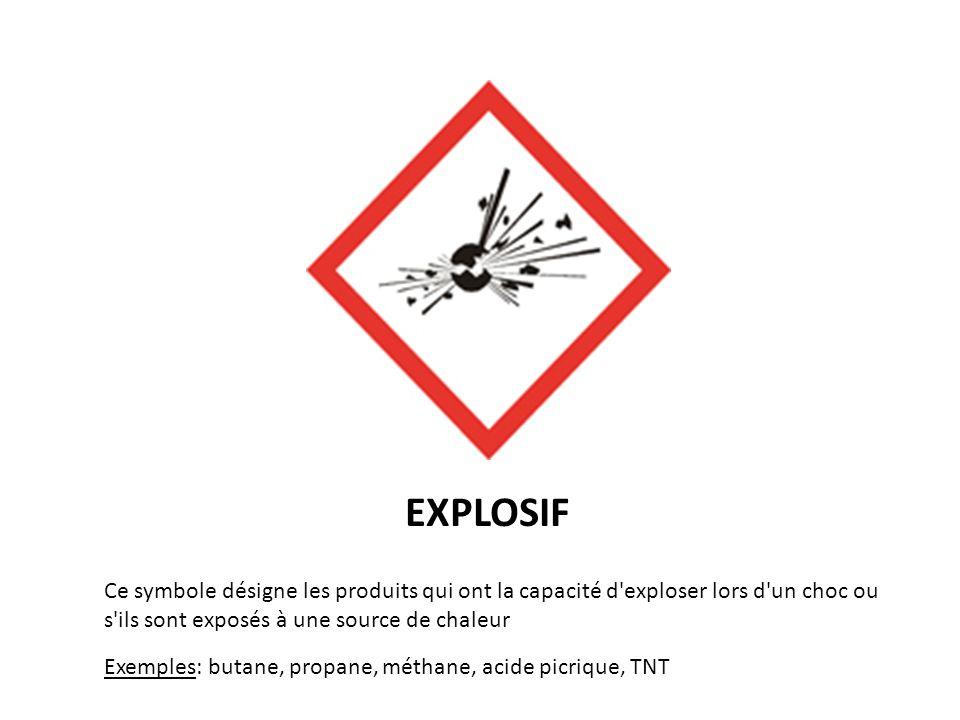EXPLOSIF Ce symbole désigne les produits qui ont la capacité d'exploser lors d'un choc ou s'ils sont exposés à une source de chaleur Exemples: butane,
