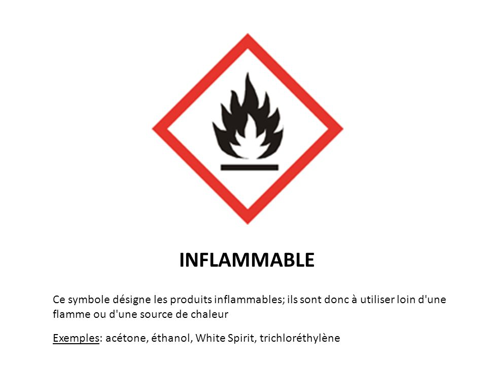 COMBURANT Ce symbole désigne les produits comburants; ils facilitent la combustion; ils sont donc à utiliser loin d une flamme ou d une source de chaleur Exemples: les pastilles deau de Javel effervescentes, dioxygène, chlorate de sodium