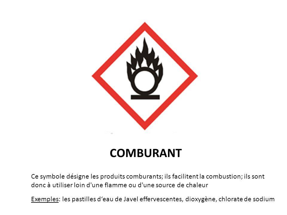 COMBURANT Ce symbole désigne les produits comburants; ils facilitent la combustion; ils sont donc à utiliser loin d'une flamme ou d'une source de chal