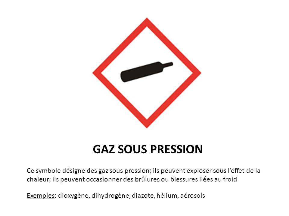 GAZ SOUS PRESSION Exemples: dioxygène, dihydrogène, diazote, hélium, aérosols Ce symbole désigne des gaz sous pression; ils peuvent exploser sous leff