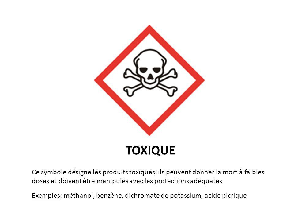 IRRITANT Ce symbole désigne les produits irritants ou nocifs; ils peuvent occasionner des désagréments pour la santé; ils doivent être manipulés avec les protections adéquates Exemples: essence de térébenthine, pesticide, antimite, eau de Javel