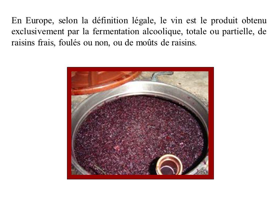 En Europe, selon la définition légale, le vin est le produit obtenu exclusivement par la fermentation alcoolique, totale ou partielle, de raisins frai