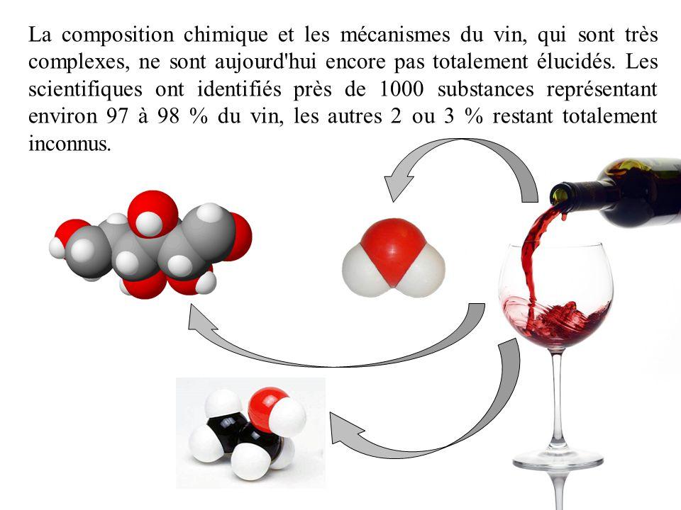 La composition chimique et les mécanismes du vin, qui sont très complexes, ne sont aujourd'hui encore pas totalement élucidés. Les scientifiques ont i