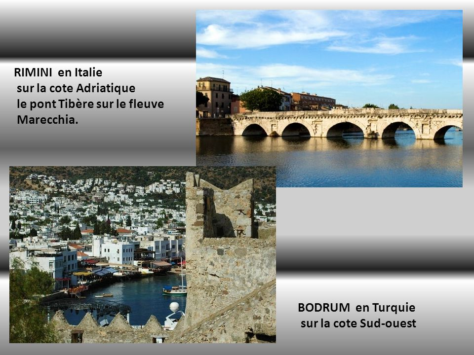RIMINI en Italie sur la cote Adriatique le pont Tibère sur le fleuve Marecchia.