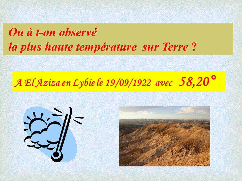 Ou à t-on observé la plus haute température sur Terre .