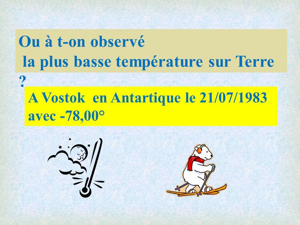 Ou à t-on observé la plus basse température sur Terre .