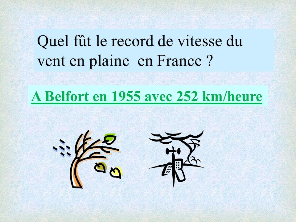 Quel fût le record de vitesse du vent en plaine en France ? A Belfort en 1955 avec 252 km/heure