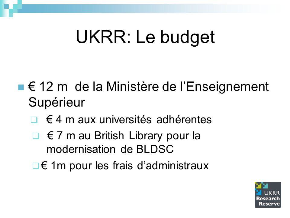 UKRR: Le budget 12 m de la Ministère de lEnseignement Supérieur 4 m aux universités adhérentes 7 m au British Library pour la modernisation de BLDSC 1m pour les frais dadministraux