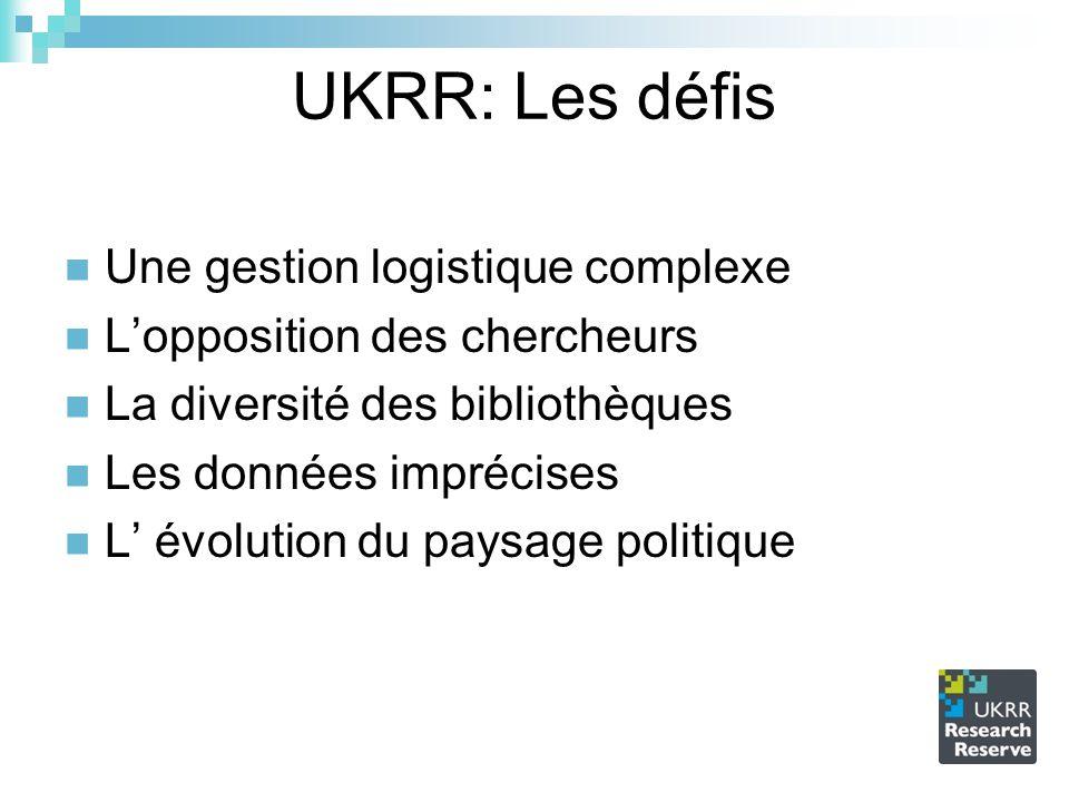 UKRR: Les défis Une gestion logistique complexe Lopposition des chercheurs La diversité des bibliothèques Les données imprécises L évolution du paysag
