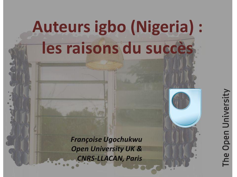 Le pays igbo, au sud-est du Nigeria, est depuis une cinquantaine dannées une pépinière décrivains anglophones, romanciers pour la plupart, dont le plus connu en France est Chinua Achebe, du fait, entre autres, que son premier roman, traduit en 1966, a été mis au programme de lagrégation danglais en 1980.