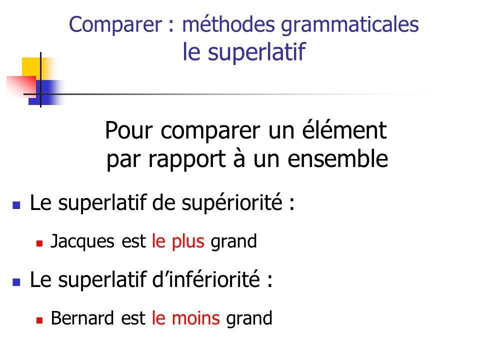 Pour comparer un élément par rapport à un ensemble Le superlatif de supériorité : Jacques est le plus grand Le superlatif dinfériorité : Bernard est le moins grand Comparer : méthodes grammaticales le superlatif