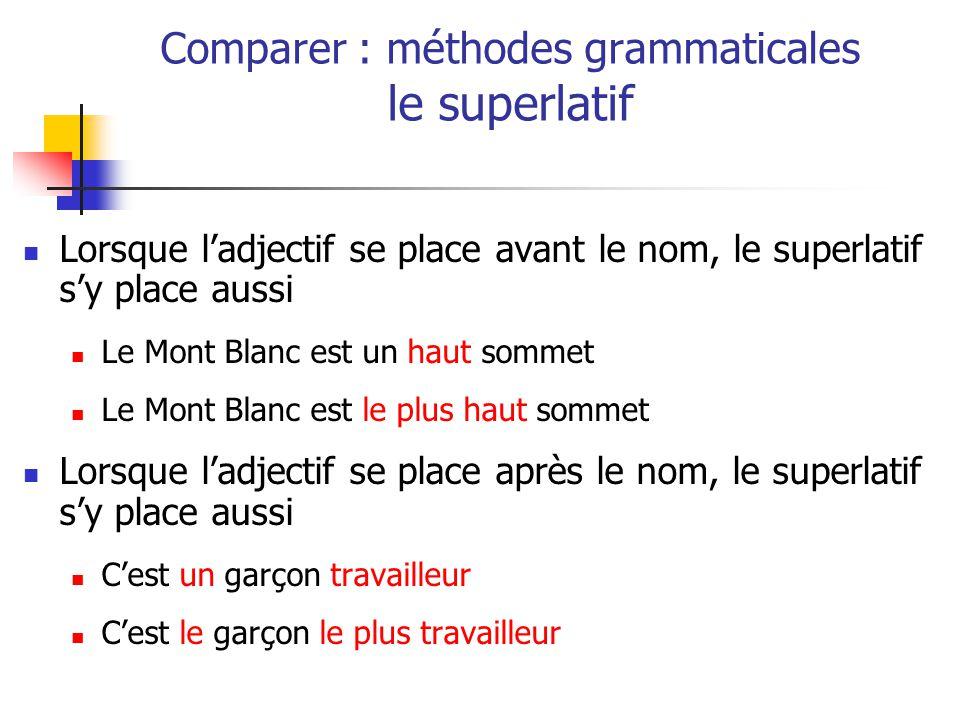 Lorsque ladjectif se place avant le nom, le superlatif sy place aussi Le Mont Blanc est un haut sommet Le Mont Blanc est le plus haut sommet Lorsque ladjectif se place après le nom, le superlatif sy place aussi Cest un garçon travailleur Cest le garçon le plus travailleur Comparer : méthodes grammaticales le superlatif