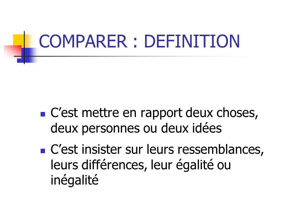 COMPARER : DEFINITION Cest mettre en rapport deux choses, deux personnes ou deux idées Cest insister sur leurs ressemblances, leurs différences, leur égalité ou inégalité