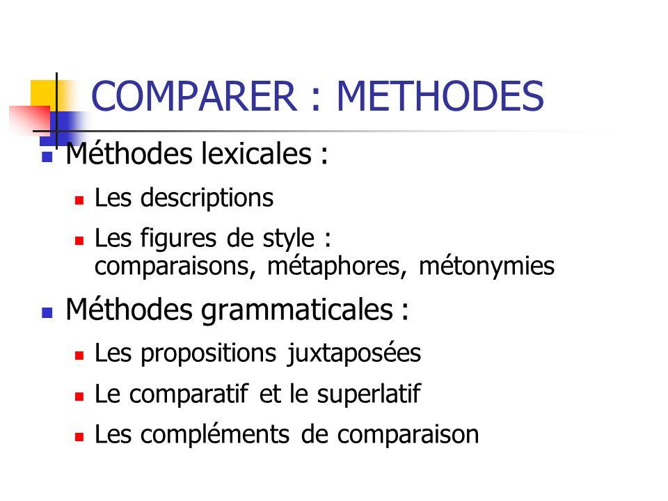 COMPARER : METHODES Méthodes lexicales : Les descriptions Les figures de style : comparaisons, métaphores, métonymies Méthodes grammaticales : Les propositions juxtaposées Le comparatif et le superlatif Les compléments de comparaison