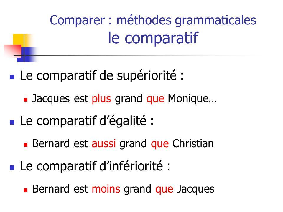 Le comparatif de supériorité : Jacques est plus grand que Monique… Le comparatif dégalité : Bernard est aussi grand que Christian Le comparatif dinfériorité : Bernard est moins grand que Jacques Comparer : méthodes grammaticales le comparatif