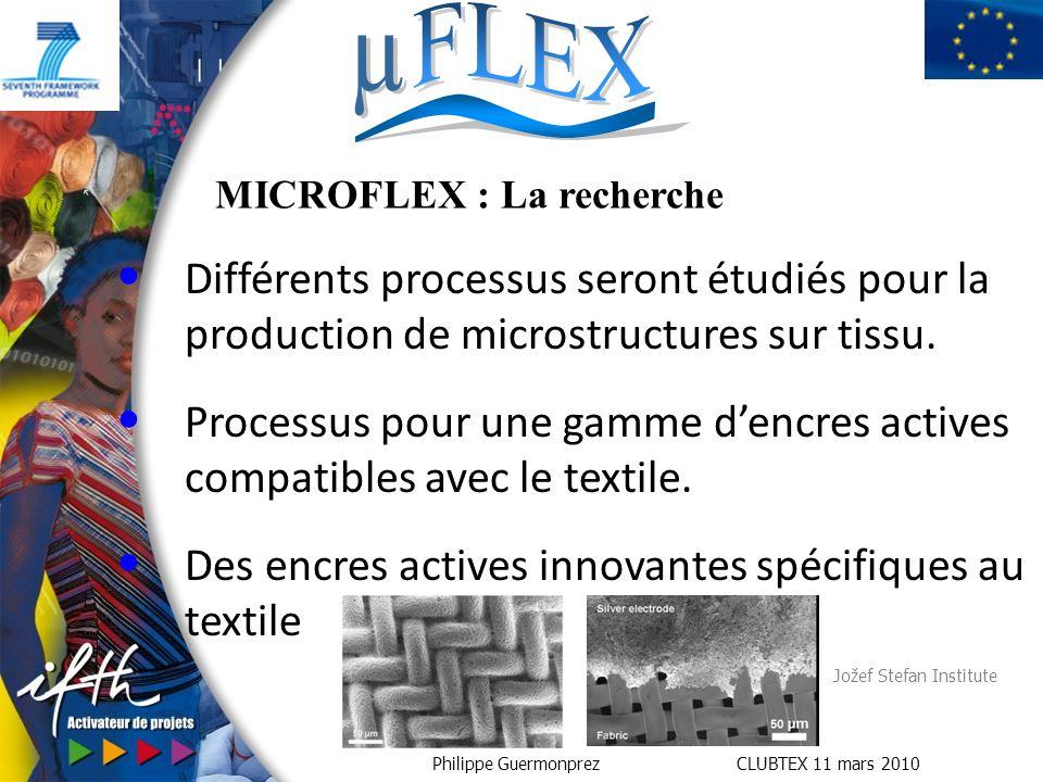 Philippe Guermonprez CLUBTEX 11 mars 2010 MICROFLEX : La recherche Différents processus seront étudiés pour la production de microstructures sur tissu