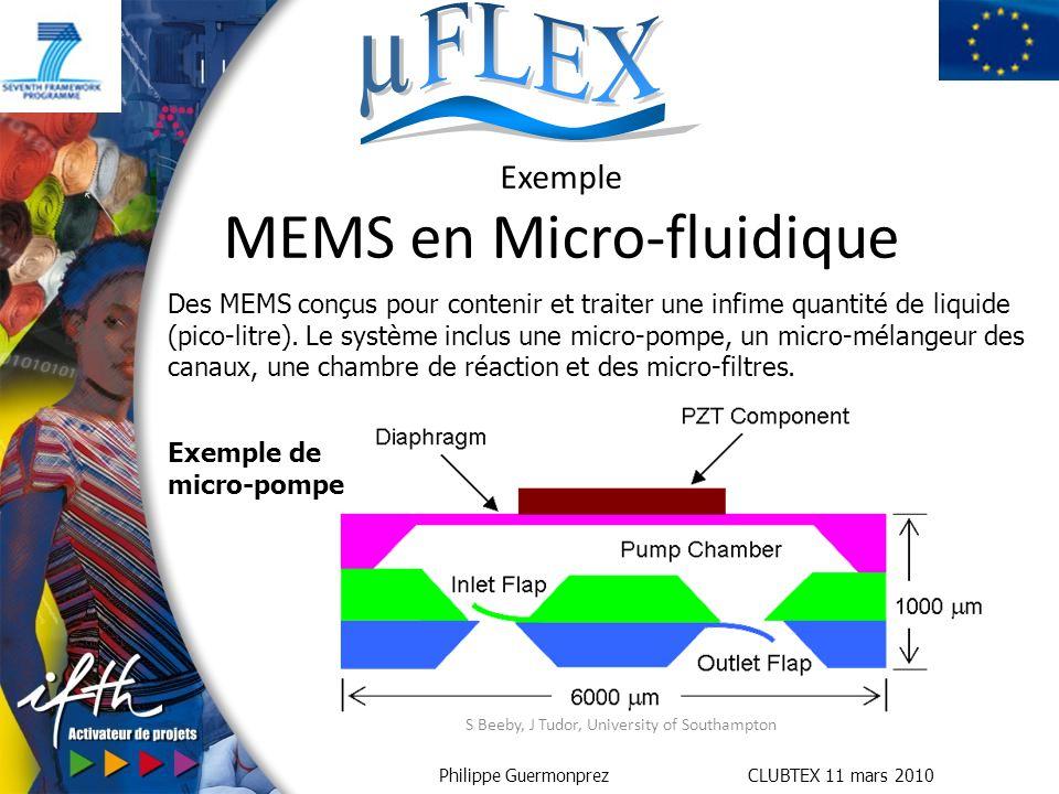 Philippe Guermonprez CLUBTEX 11 mars 2010 S Beeby, J Tudor, University of Southampton Exemple MEMS en Micro-fluidique Exemple de micro-pompe Des MEMS conçus pour contenir et traiter une infime quantité de liquide (pico-litre).