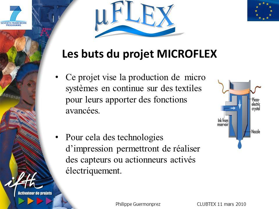 Philippe Guermonprez CLUBTEX 11 mars 2010 Ce projet vise la production de micro systèmes en continue sur des textiles pour leurs apporter des fonctions avancées.