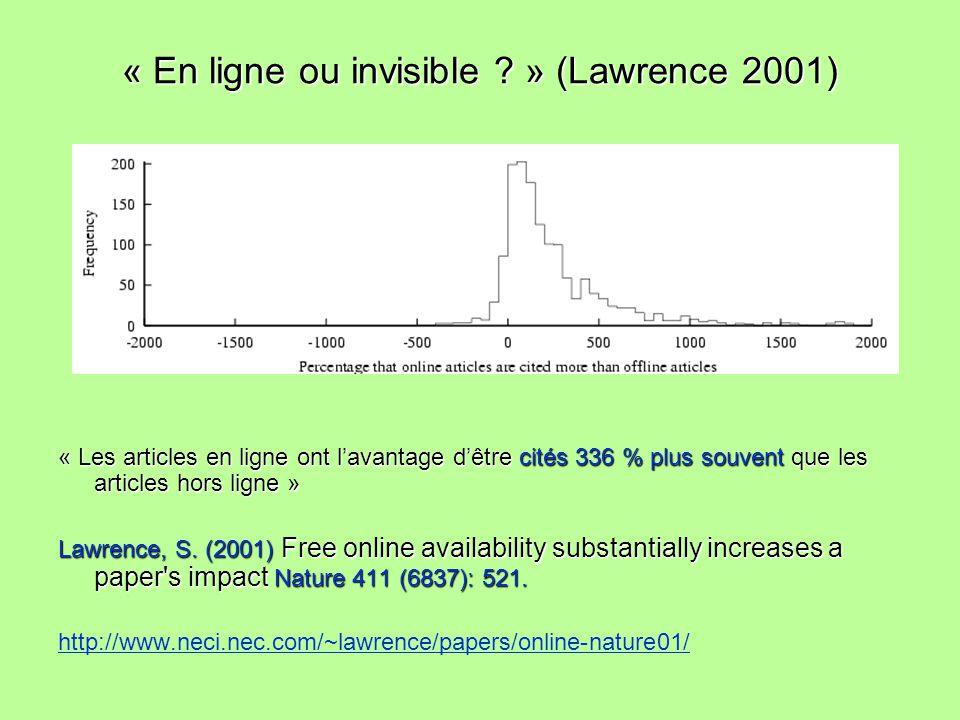 « En ligne ou invisible ? » (Lawrence 2001) « Les articles en ligne ont lavantage dêtre cités 336 % plus souvent que les articles hors ligne » Lawrenc